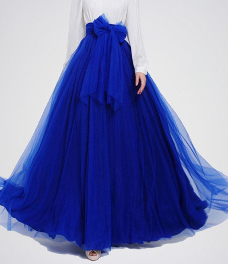Women's Royal Blue Net Long Skirt. E4H-RBS027