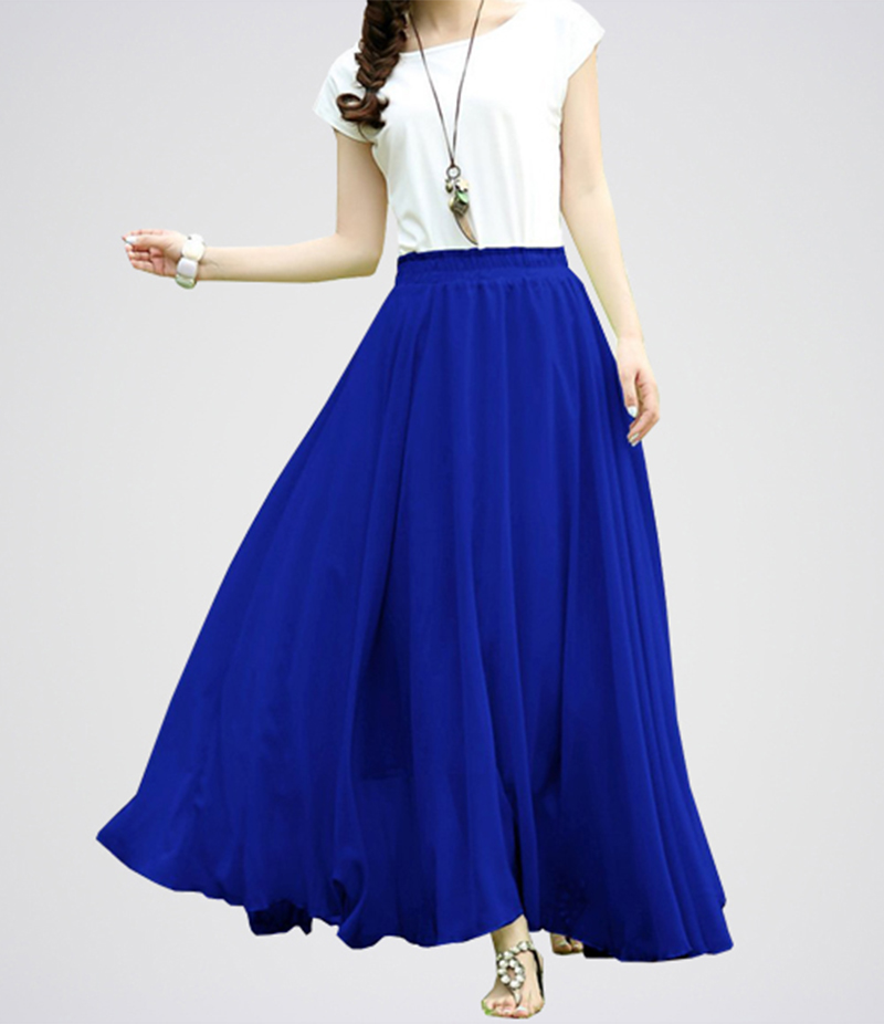 Royal Blue Retro Maxi Linen Long Skirt. E4h-Rbw040