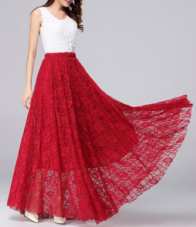 Womens White And Red Retro Long Maxi Dress. E4h-Rdw036
