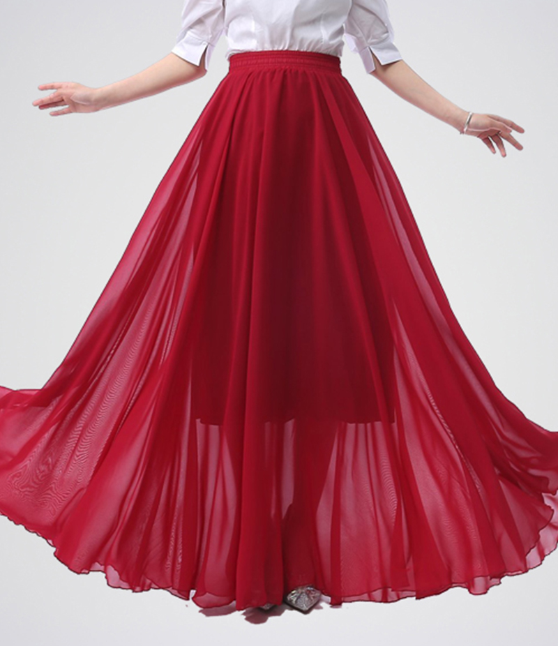 Women's Crimson Red Chiffon Long Skirt. E4H-RED103