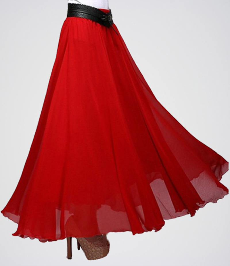 Women's Dark Red Chiffon Long Skirt. E4H-RMS025
