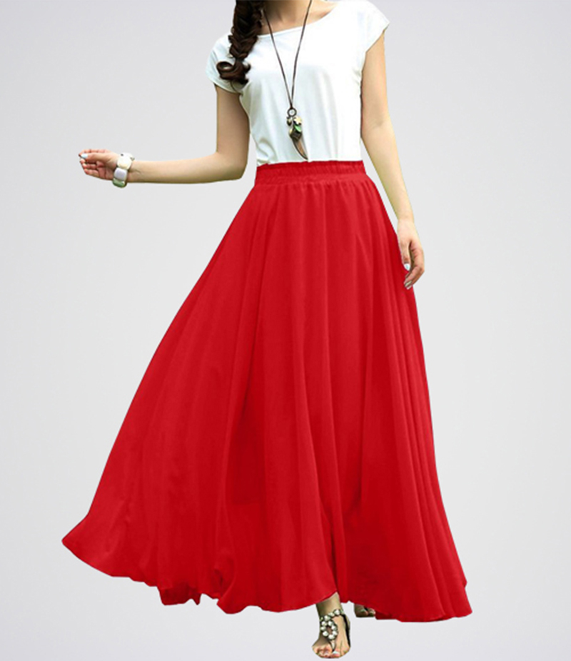 Red And White Retro Maxi Linen Long Skirt. E4h-Rwt039