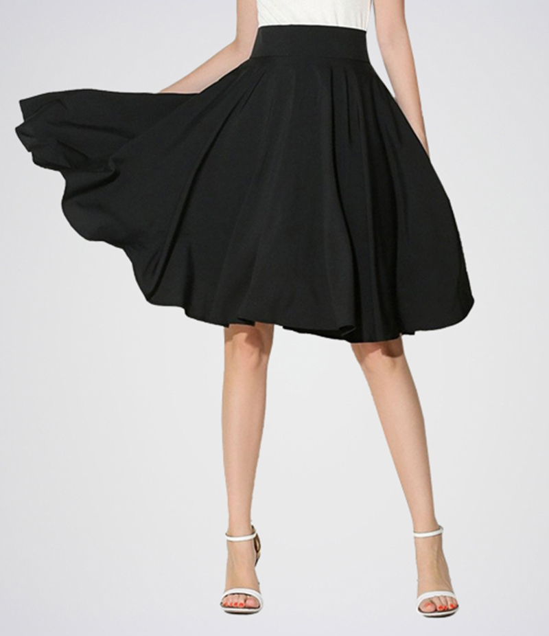Women's Black Linen Midi Skirt. E4H-SKRT0112