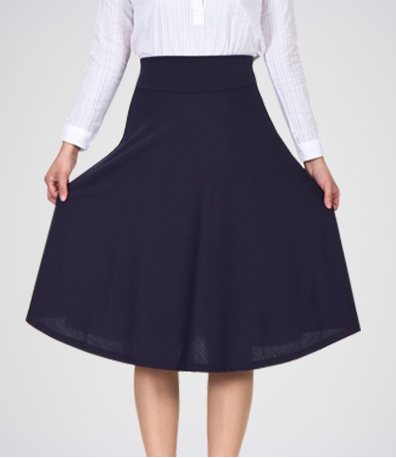 Women's Navy Blue Linen Short Skirt. E4H-SKT50