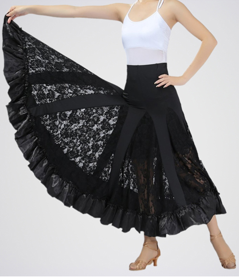 E4H - Women's  Black Silk Cotton Net Panel Skirt. E4H-SWNG105