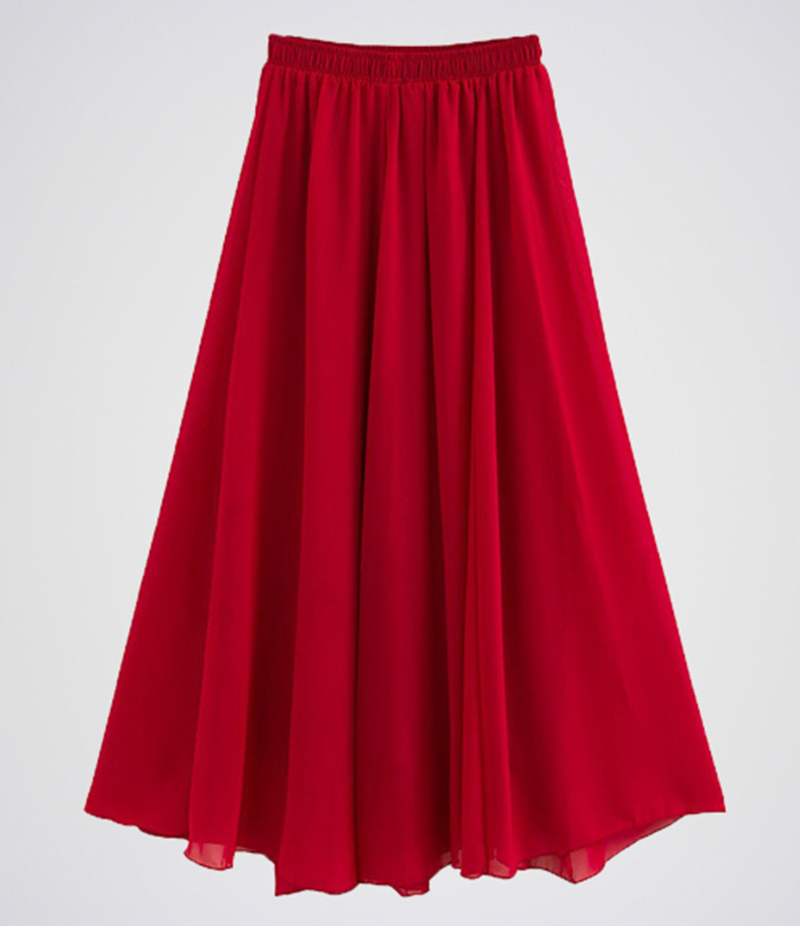 Women's Red Chiffon Long Skirt. E4H-WRDSKT