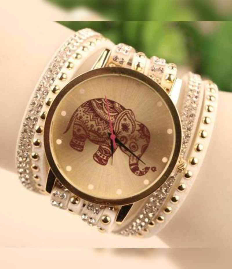 Fashion Quartz Multilayer Leather Rivets Bracelet Watch. EAW-100
