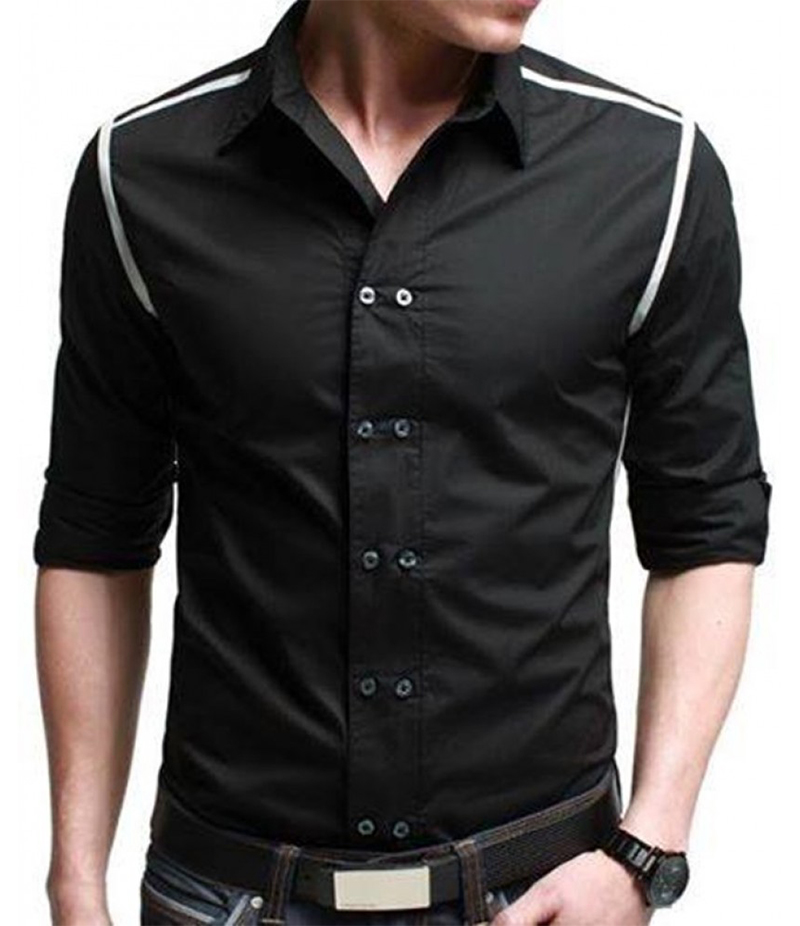 Men's Casual Full Sleeves Black Streak Shirt. EC-116