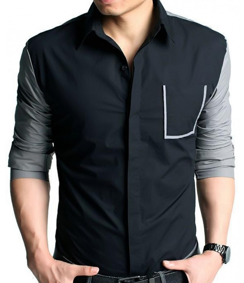 Men's Casual Long Sleeve Middle Grey Shirt. EC-122