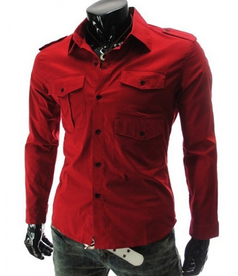 Men's 3 Pocket Style Red Three Fold Shirt. EC-127 (A)