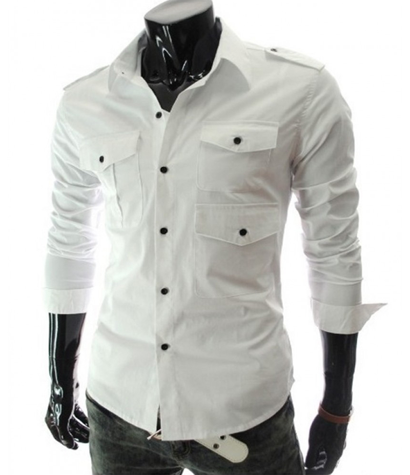 Men's 3 Pocket Style White Three Fold Shirt. EC-127 (B)