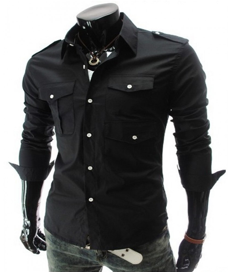 Men's 3 Pocket Style Black Three Fold Shirt. EC-127 (C)