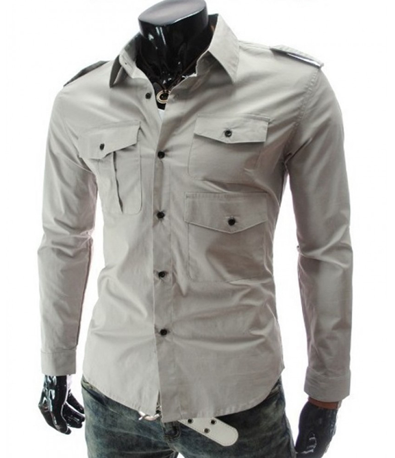 Men's 3 Pocket Style Grey Three Fold Shirt. EC-127 (D)