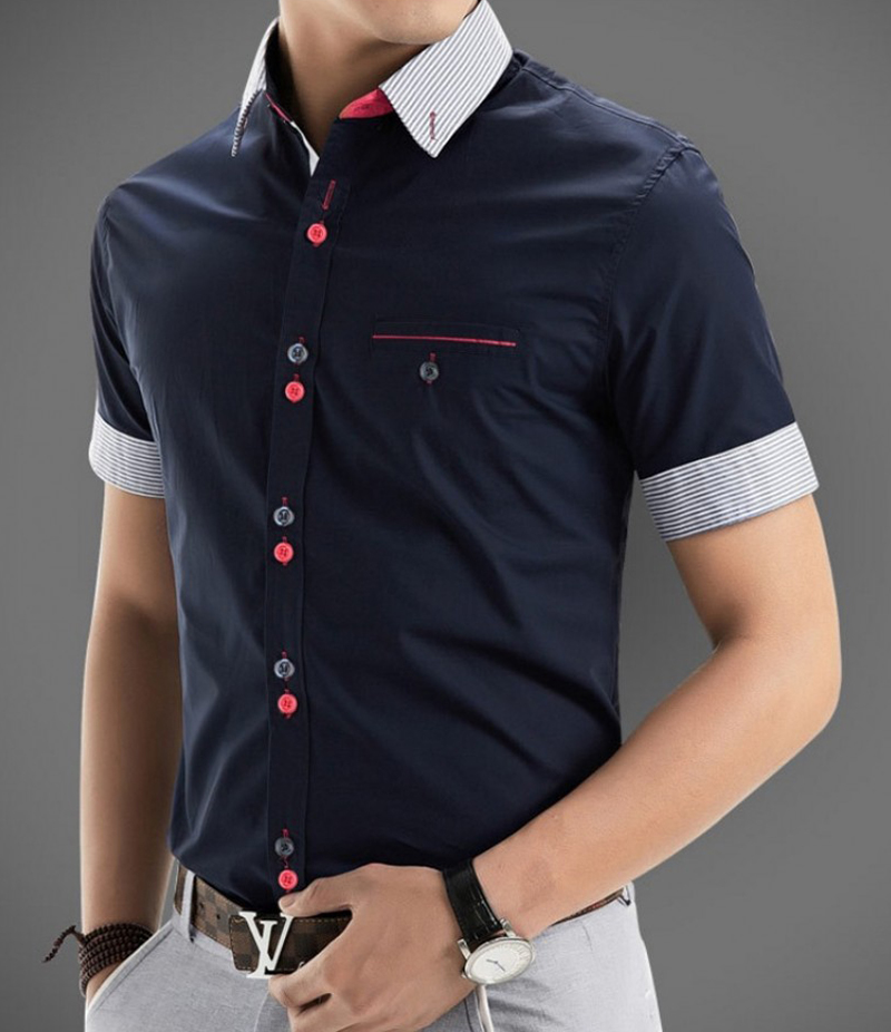 Men's Multi Button Style Polka Shirt. EC-128