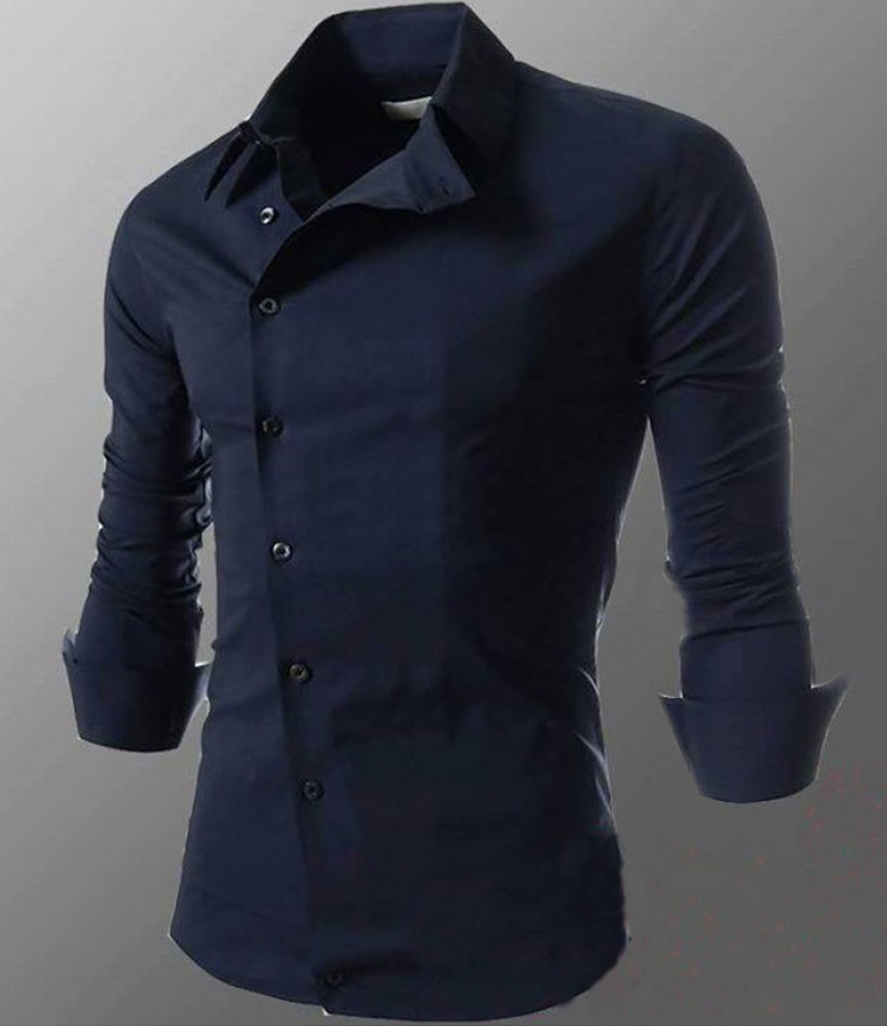 Men's Cotton Navy Blue Morality Oblique Shirt. EC-129A