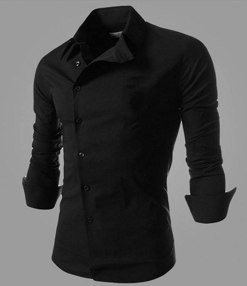 Men's Cotton Black Morality Oblique Shirt. EC-129C
