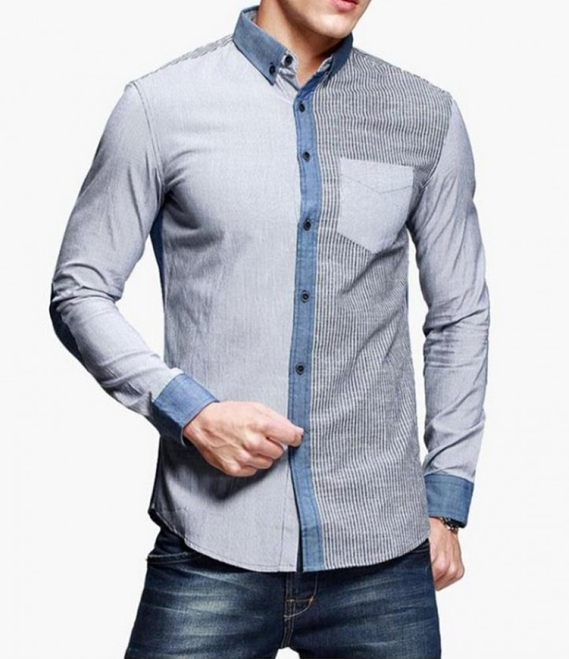 Men's Dualism Grey Front Pocket Shirt. EC-130