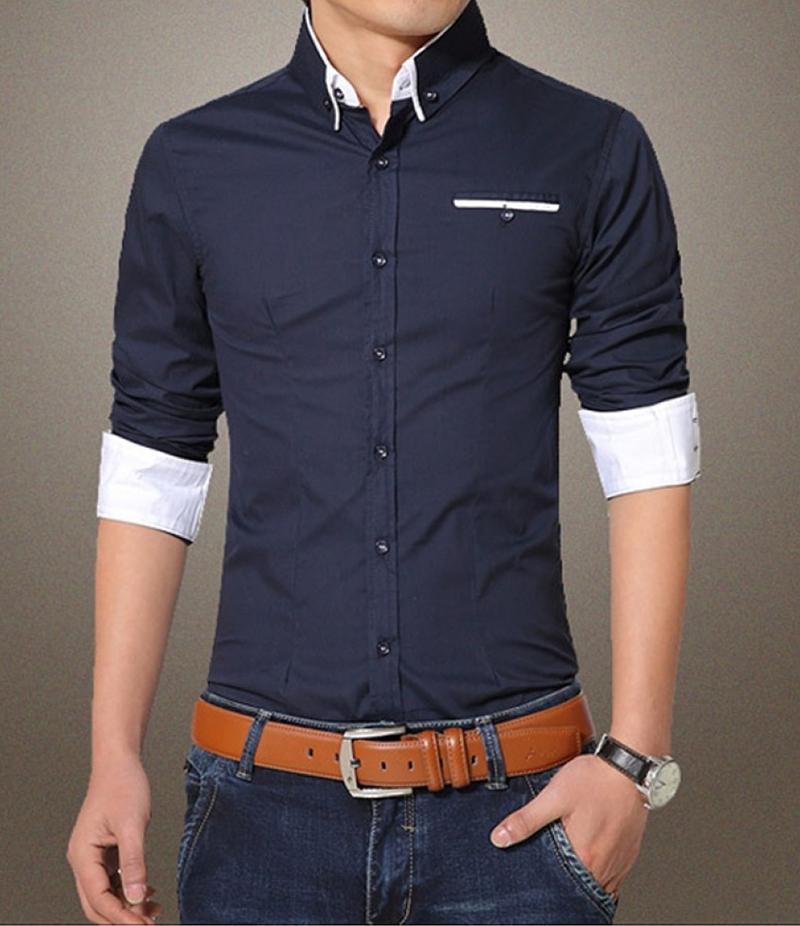Men's Contrast Ribbed Style Navy Blue Solitary Shirt. EC-141 (C)