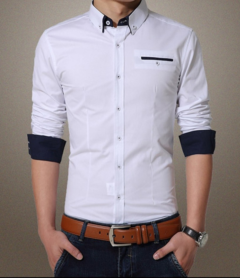 Men's Contrast Ribbed Style White Solitary Shirt. EC-141 (A)