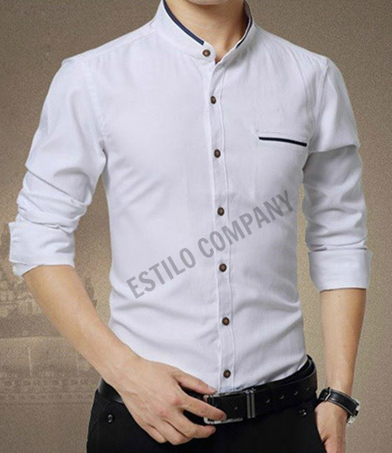 Men's Contrast Ribbed White Illusion Shirt. EC-174 (F)