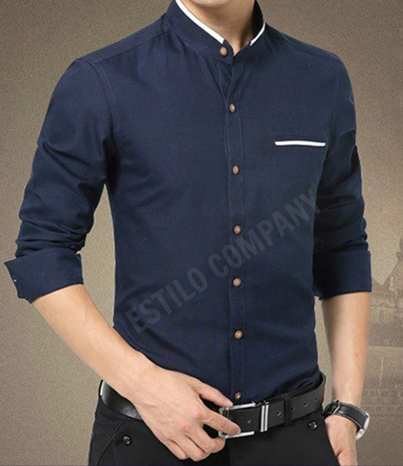 Men's Contrast Ribbed Navy Blue Illusion Shirt. EC-174 (G)