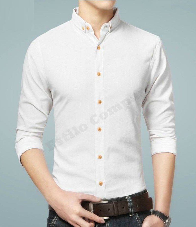 Men's Casual Cotton White Paragon Shirt. EC-175 (A)