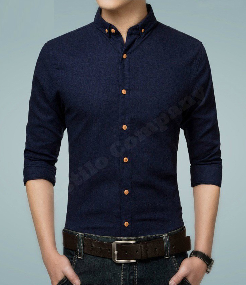 Men's Casual Cotton Navy Blue Paragon Shirt. EC-175 (C)