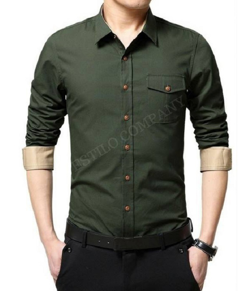 Men's Dark Green Solid The Primo Shirt. EC-182 (A)