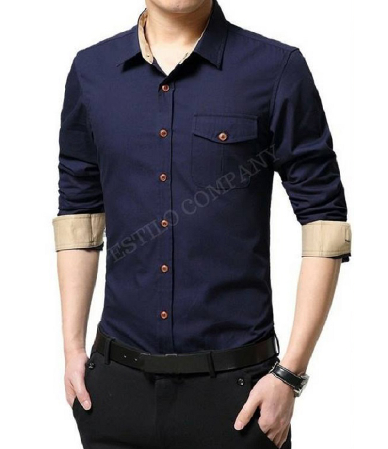 Men's Navy Blue Solid The Primo Shirt. EC-182 (B)