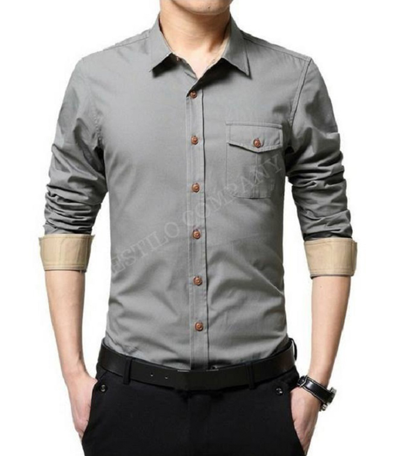 Men's Dusky Grey Solid The Primo Shirt. EC-182 (D)