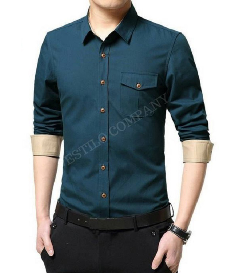 Men's Aqua Green Solid The Primo Shirt. EC-182 (E)