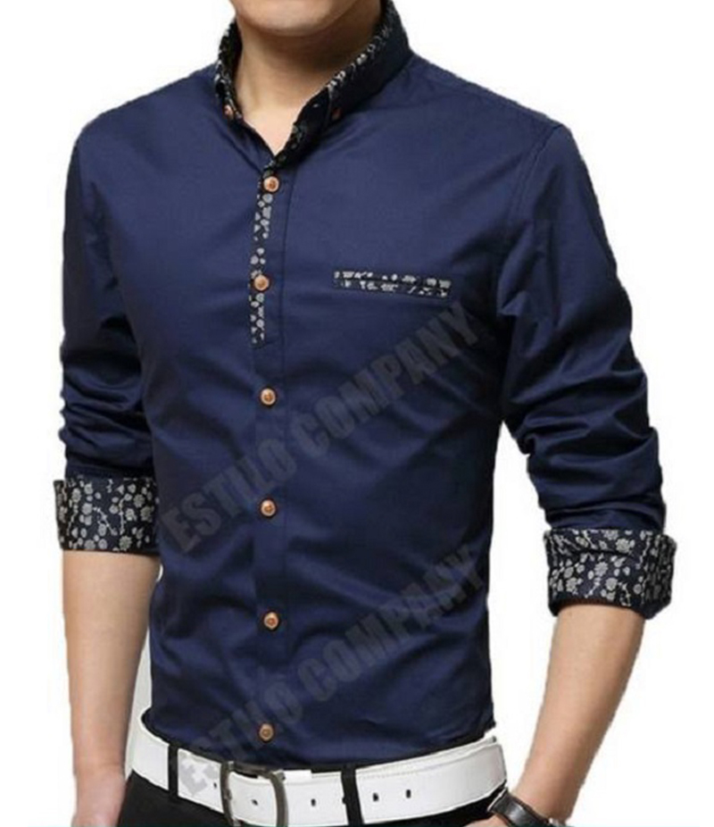 Men's Navy Blue Malaysian Cotton The Splendor Shirt. EC-184 (B)