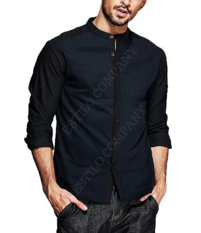 Men's Black Cotton Collar Less The Splice Shirt. EC-189