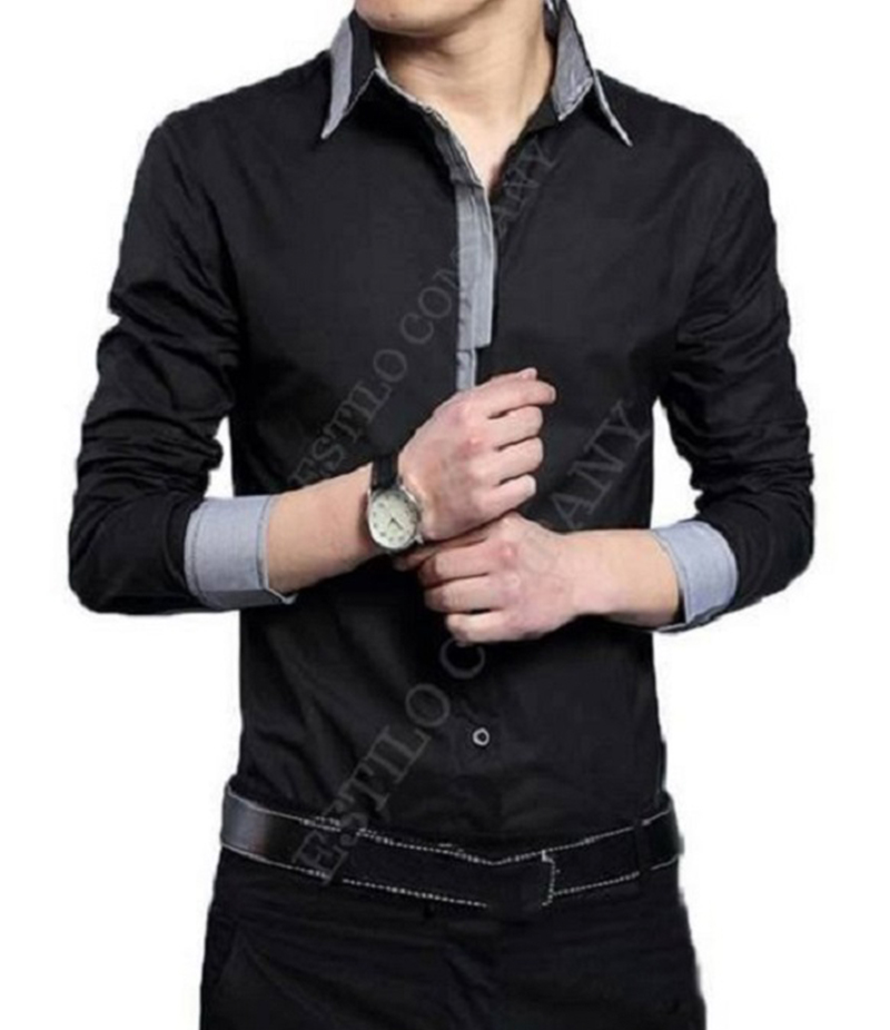 Men's Black with Grey Contrast The Misty Shirt. EC-191
