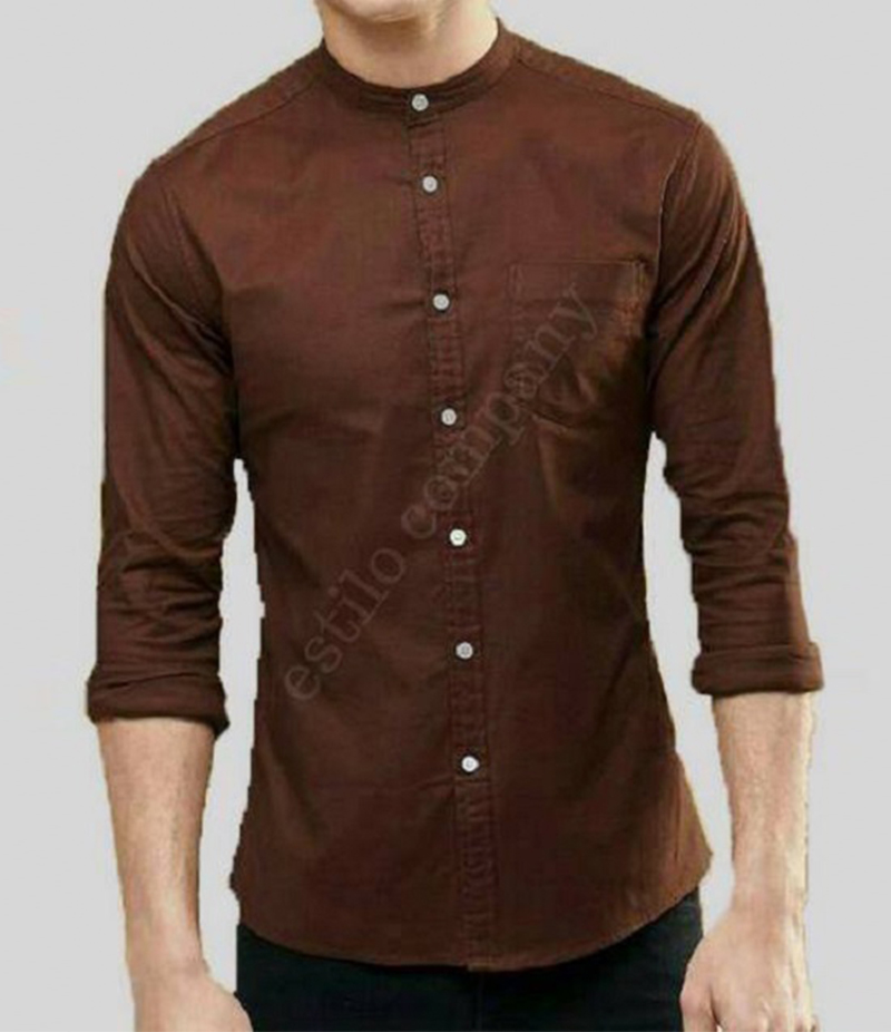 Men's Sherwani Collar Dark Brown The Passion Shirt. EC-195 (A)
