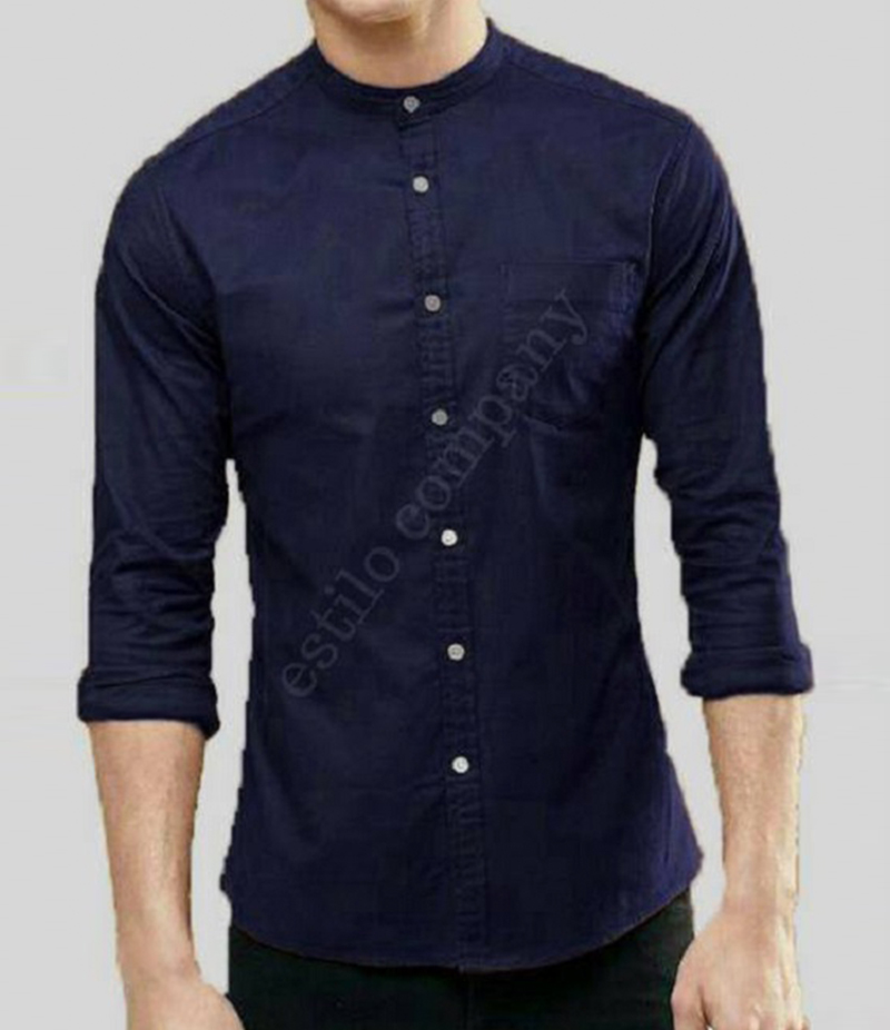 Men's Sherwani Collar Navy The Passion Shirt. EC-195 (B)