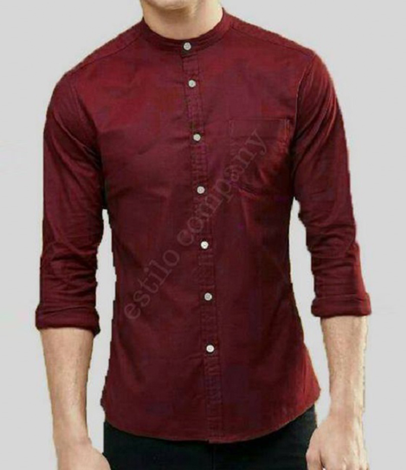 Men's Sherwani Collar Maroon The Passion Shirt. EC-195 (C)