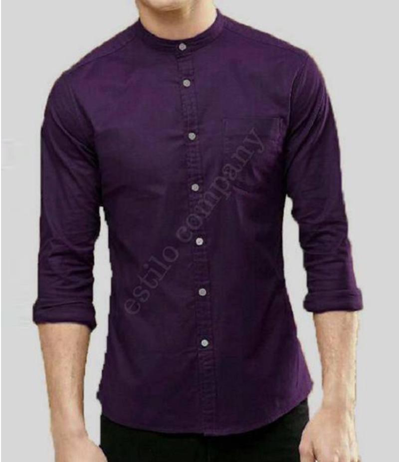 Men's Sherwani Collar Purple The Passion Shirt. EC-195 (D)