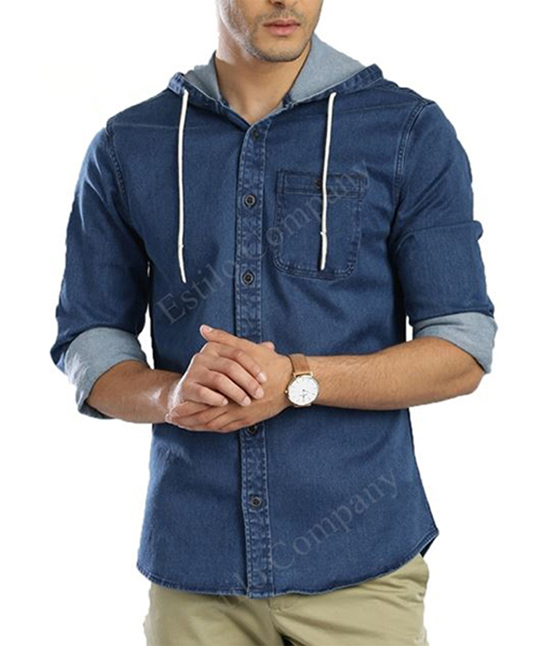 Men's Blue Long Sleeve The Denim Hoodie Shirt. EC-197 (A)