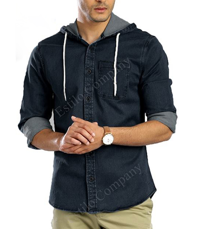 Men's Black Long Sleeve The Denim Hoodie Shirt. EC-197 (B)