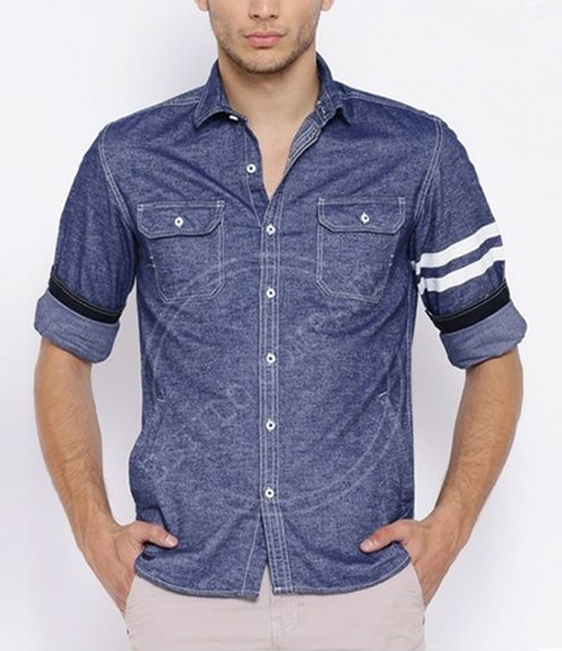 Men's Indigo Blue The Chambray Hooded Shirt. EC-198 (C)