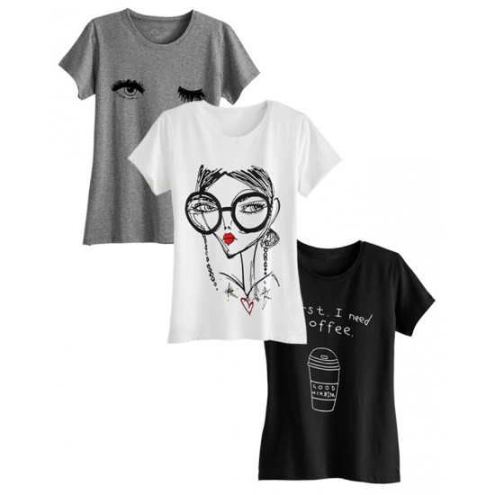 Women's Pack of 3 Multi Color Printed T-shirts. CAM-SWT