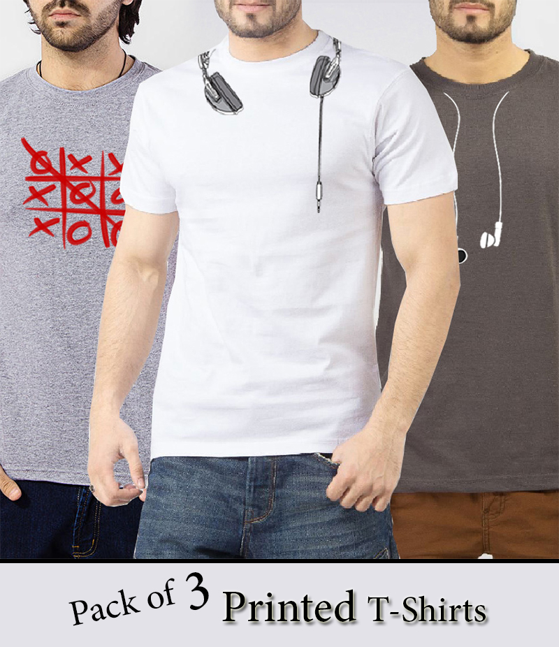 Men's Pack of 3 Graphics Printed T-Shirts. RWY-78