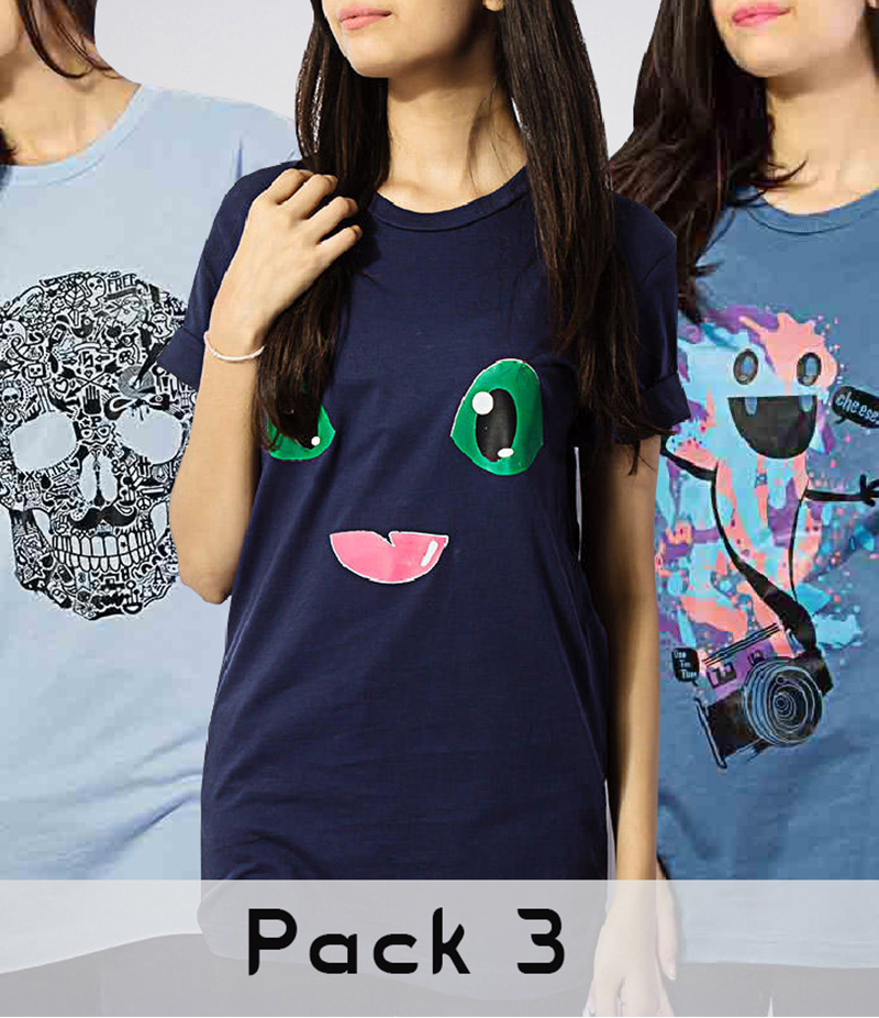 Pack Of 3 Graphics Printed T-Shirt. FS-3