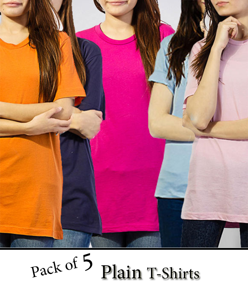 Women's Pack of 5 Plain T-Shirts. FS-401