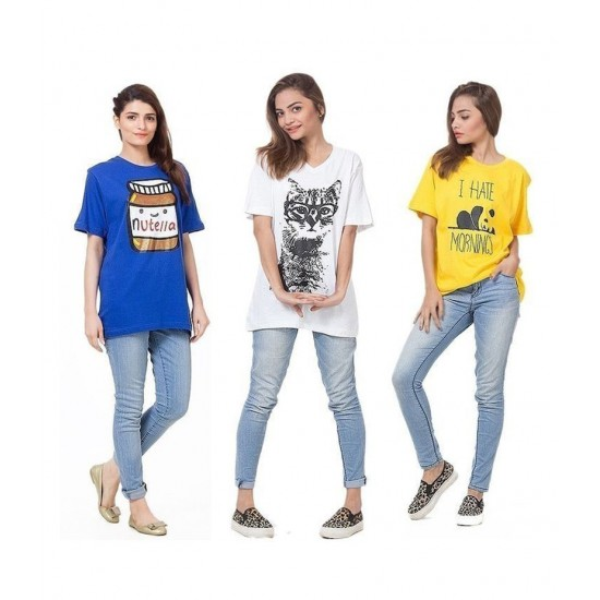 Women's Pack of 3 Printed T-shirts. P3-WT867