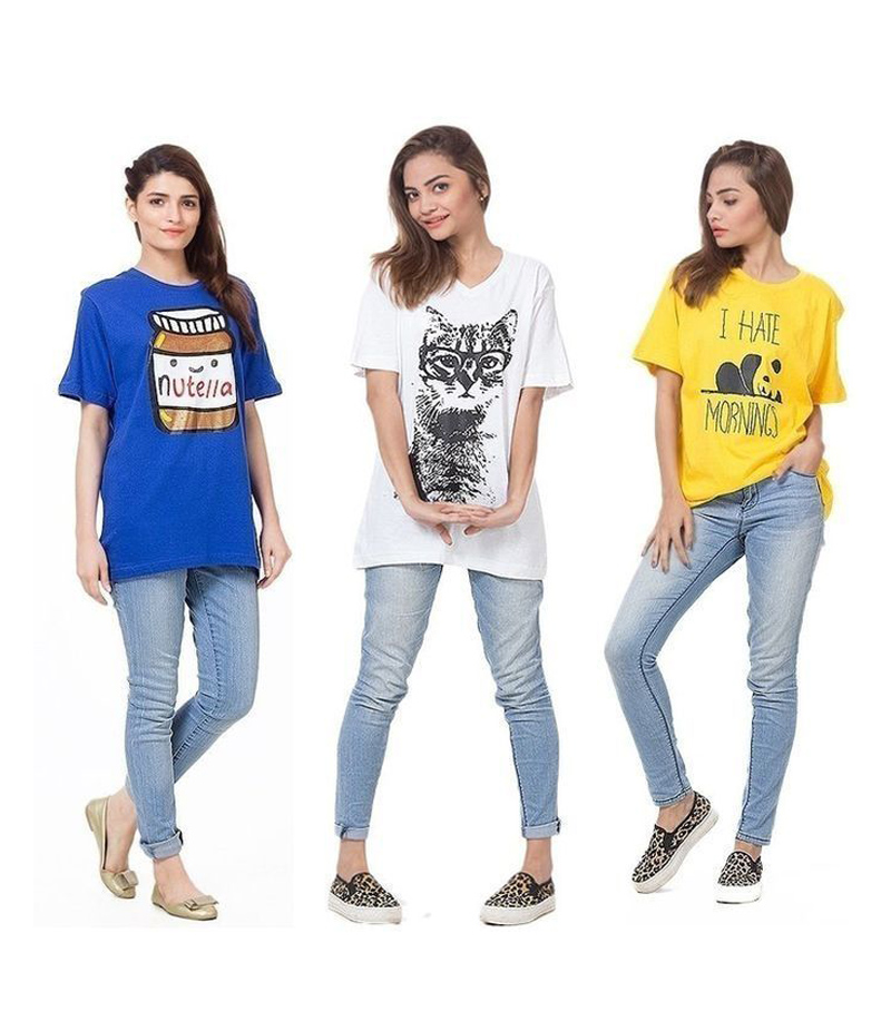 F-Street - Women's Pack of 3 Printed T-shirts. P3-WT867