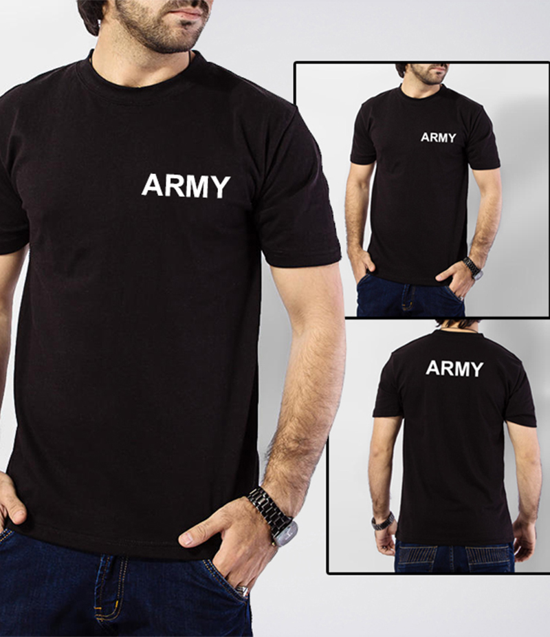 The Ajmery - Men's Black Army Printed Round Neck T-Shirt. AJ-10010