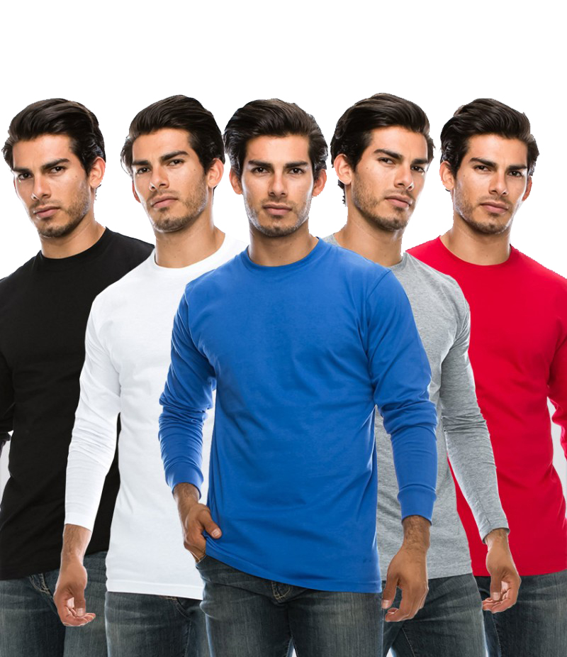 Men's Pack Of 5 Long Sleeves T-Shirts. AJ-21