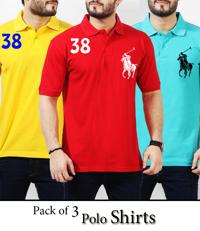 Men's Pack Of 3 Horse Polo T-Shirt. AJ-RL01